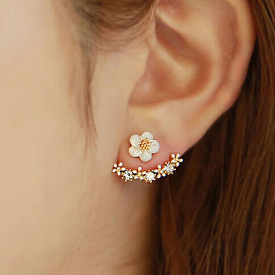 TZ#50 1Pair Women Fashion Flower Crystal Ear Stud Earrings Earring  Jewelry Gift Free Shipping золотые серьги по уху
