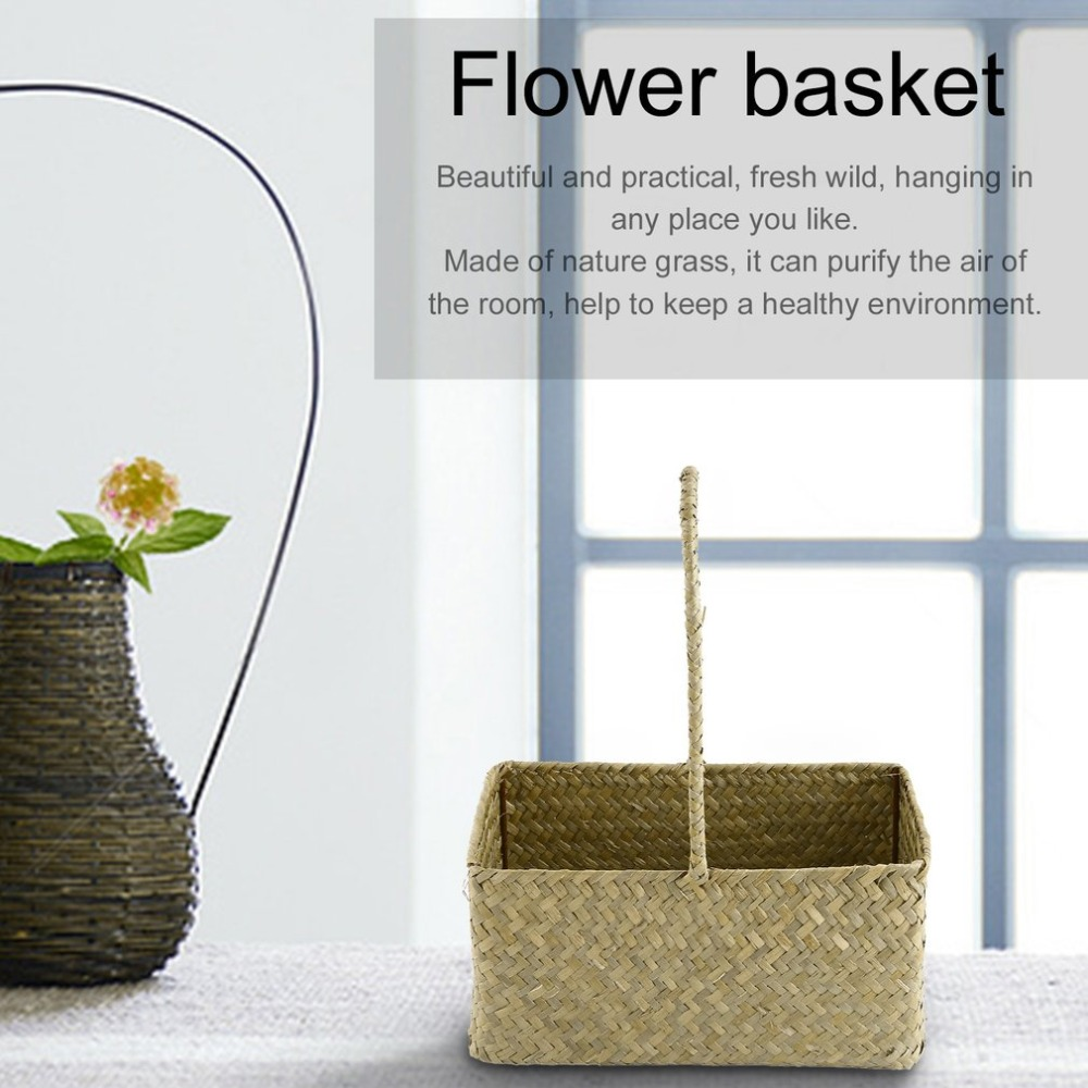 2 Pcs/Set Rectangle Seagrass Woven Flower Basket Tote Storage Basket ...