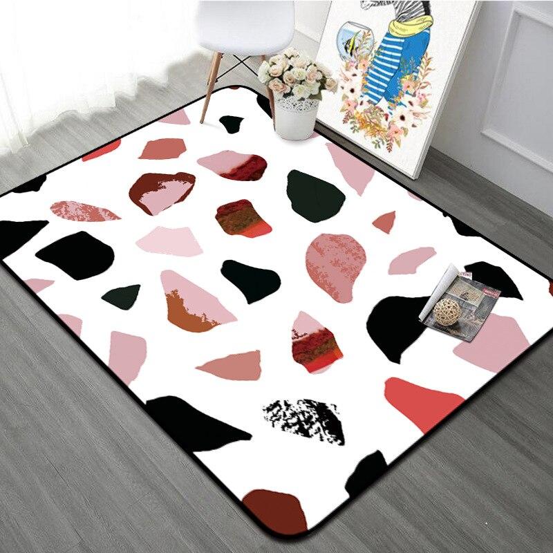 Tapis géométrique moderne salon tapis décor à la maison en marbre motif anti-dérapant tapis épaissir Rectangle chambre tapis lit côté Floormat