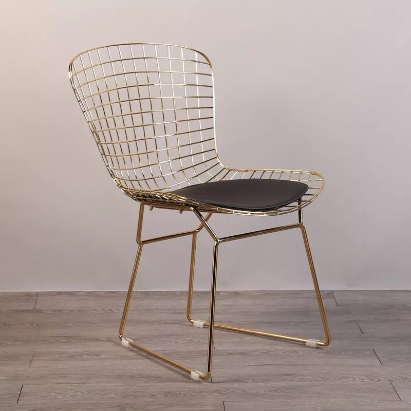 Free shipping U-BEST Mid-Century Modern Reproduction Bikini Wire Chair,Modern Collection gold Wire Dining Chair side chair