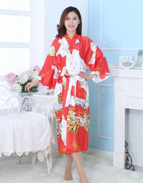 Novo Japonês Robes Para As Mulheres Frete Grátis Dama de Honra de Luxo Roupão Vestes Compridas Sexy Impresso Tamanho Grande Casa de Verão Usam Ternos