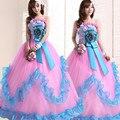 Nuevo solo tema stage tutu dress cantando long hot pink vestidos de quinceañera 2015