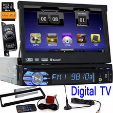 Digital TV one din 1 Din Car DVD Player GPS Navigation Universal In-dash Detachable Front Panel Auto Radio Audio Stereo+camera