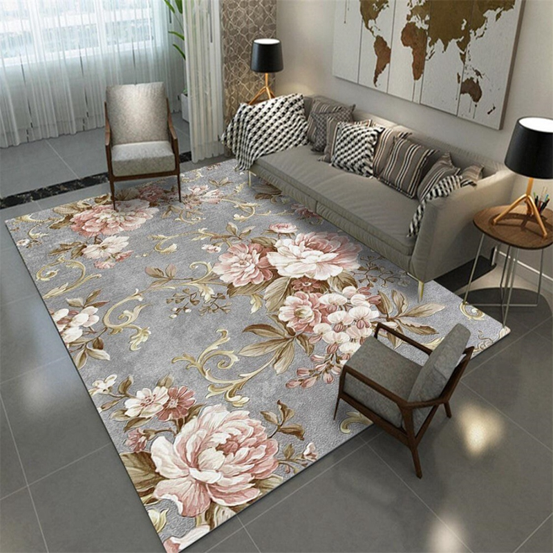 <font><b>3D</b></font> Chinese Flower Printed Carpets and Rugs Ink Painting Living Room Bedroom Area Rug <font><b>Tapete</b></font> Sofa Coffee Table Non-Slip Floor Mat image