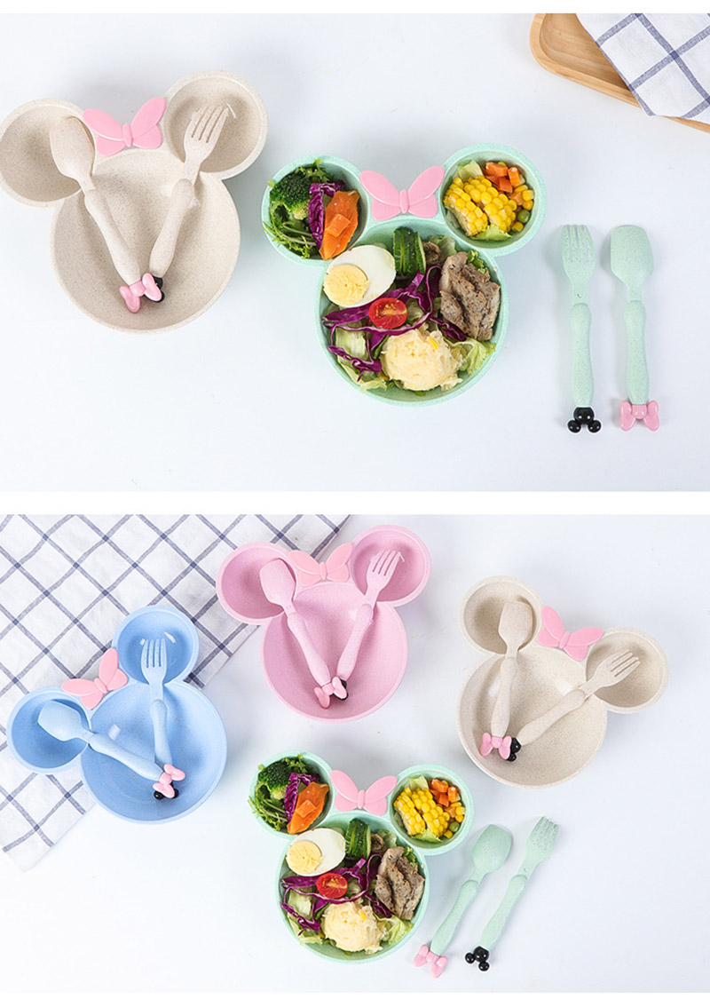 3 PcsSet Baby Food Storage Bamboo Tableware Solid Cute Dishes Kids Plate Bowl Eco-friendly Children Training Dinnerware BB5077 (6)