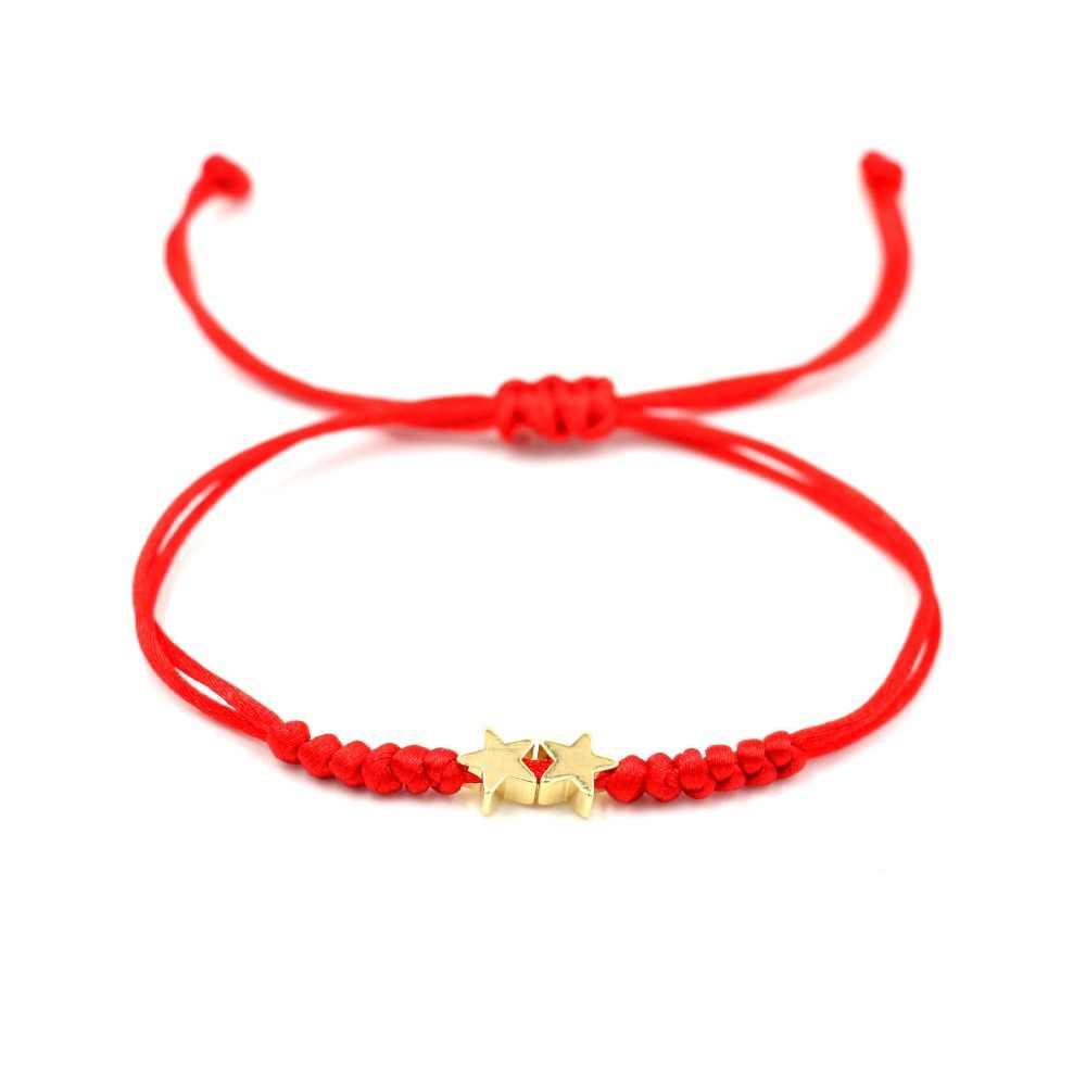 ゴールドカラー 2 ハートスターシンプルな赤糸文字列のブレスレット女性男性手作り糸ロープガール調整可能なジュエリー