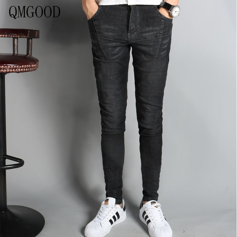 QMGOOD Boutique Men Brand Black Slim Jeans 2017 Spring and Summer Fashion New Youth Casual Pants Cotton Male Cowboy Trousers 36