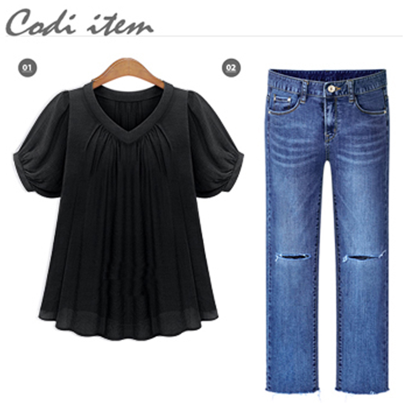 Women Shirt Blouse Big Large Size Plus Size 5XL 2017 Summer Casual Women Blouses Short Sleeves Pleat Chiffon Female Tops T7N010A 1