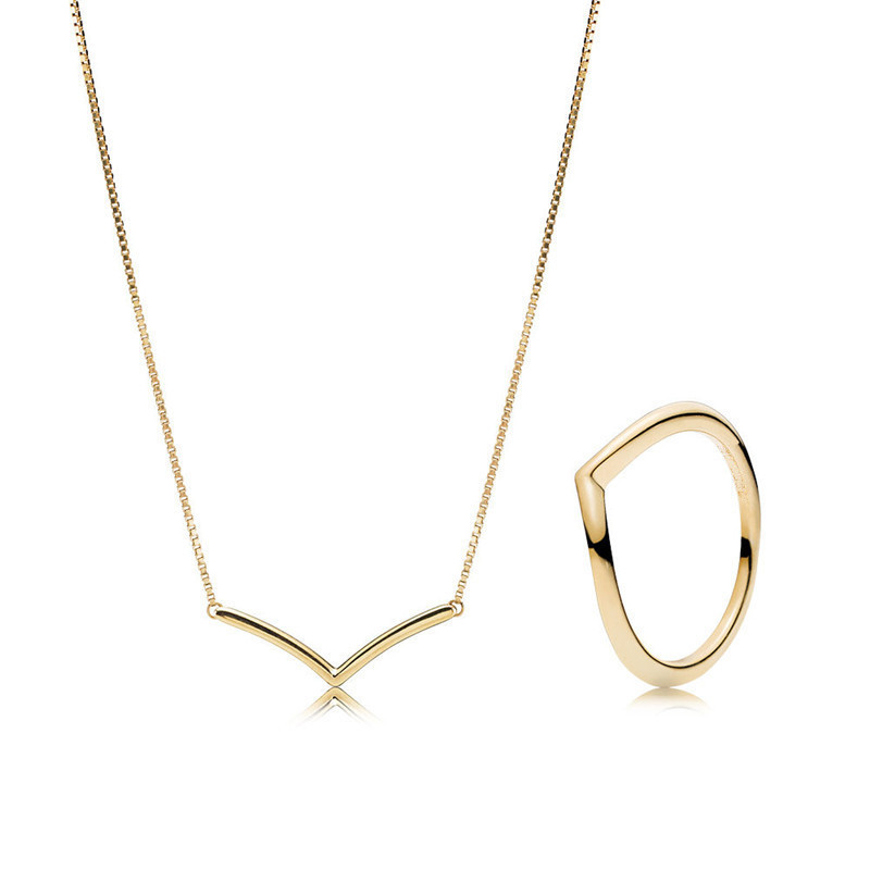 Golden Shine Necklace & Ring Jewelry Sets for Women Wish Collection Smooth Charm Choker Necklaces & Rings Silver 925 Jewelry NewGolden Shine Necklace & Ring Jewelry Sets for Women Wish Collection Smooth Charm Choker Necklaces & Rings Silver 925 Jewelry New