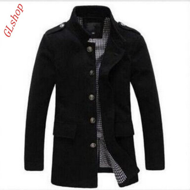2016 New Fashion British Mens Stand Collar Peacoat Slim Fit Casual Trench Woolen Coats Overcoats Size M-3XL Free Shipping