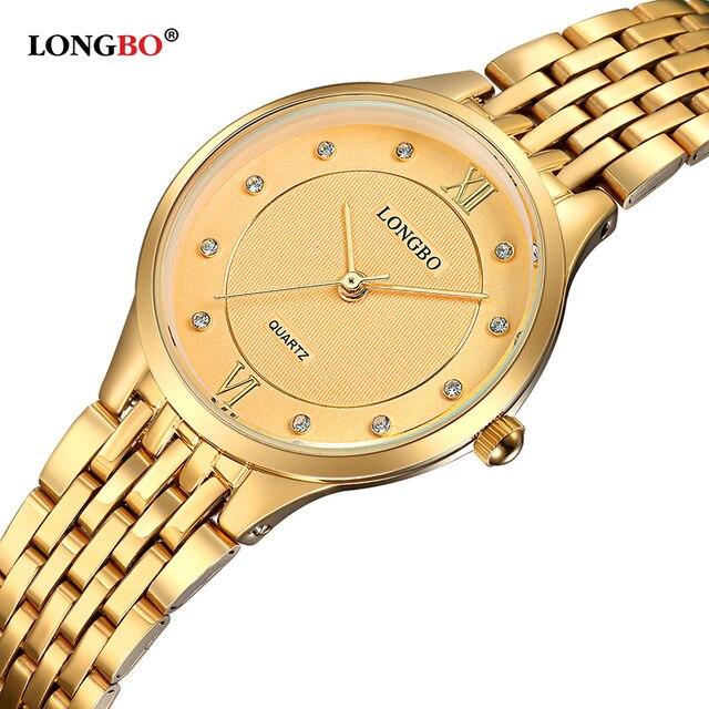 LONGBO Brand Fashion Gold Women Watch 2017 High Quality Ultra Thin Quartz Charms Steel Band Analog