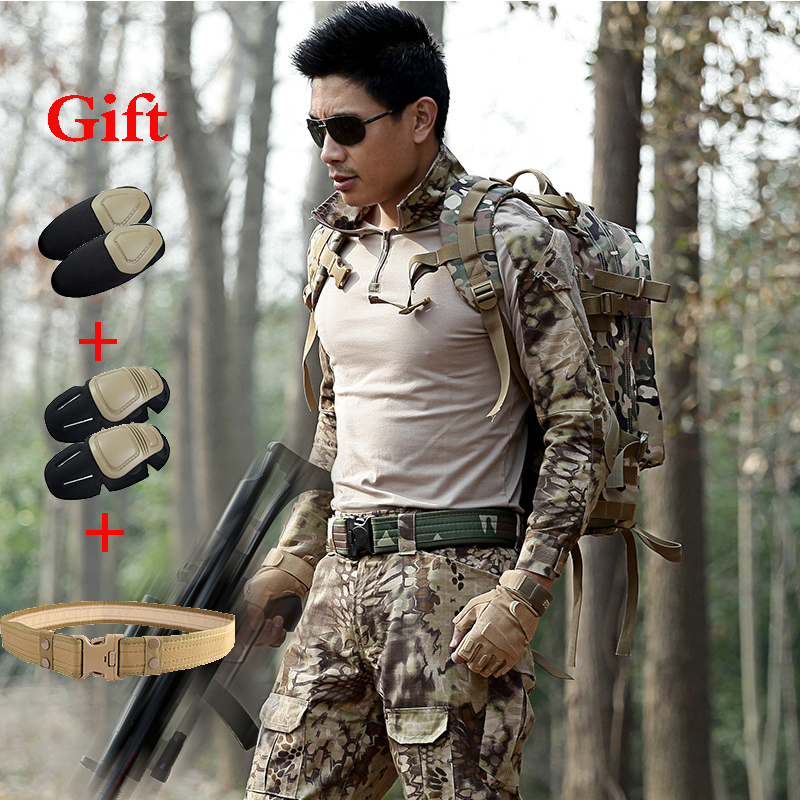 Army Hunting Camouflage Sets Military Uniforms Combat Shirt Tactical Pants With Knee Pads Ghillie Sports Hiking Training Suit mgeg militar tactical cargo pants men combat swat trainning ghillie pants multicam army rapid assault pants with knee pads
