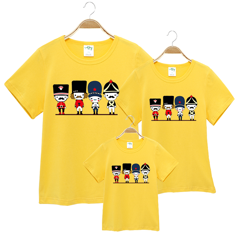 2016 summer Family Matching Outfits short-sleeved Cartoon T-shirt Women Kids Clothing Top tees Family Look Family fitted