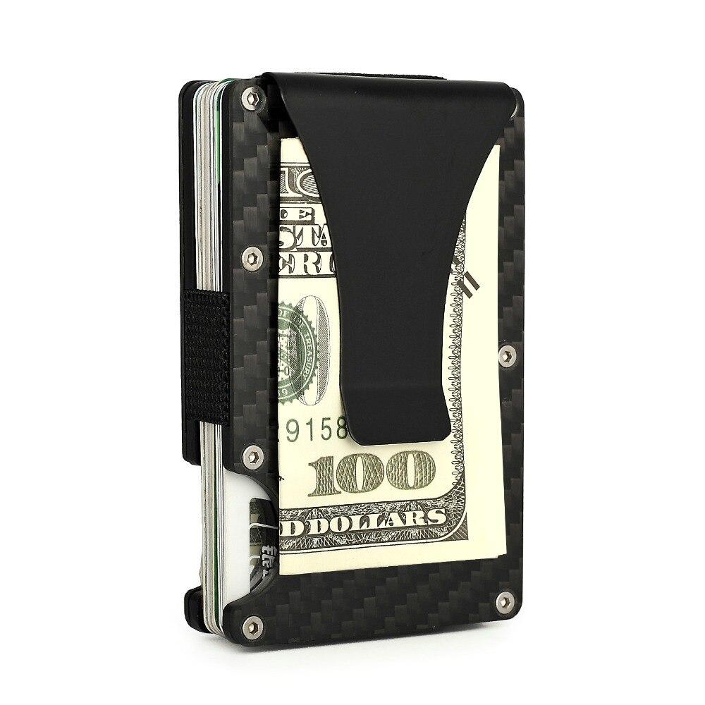 FGHGF RFID Блокировка тонкий бумажник углеродного волокна металла кредитной держатель для карт анти-сканирования карты рукава самозащиты обор...