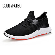 COOLVFATBO 2019 Fashion Men Shoes Casual Weaving Fly Mesh Breathable Light Soft Black Slipon Mens Shoe Male Trainers Sneakers(China)