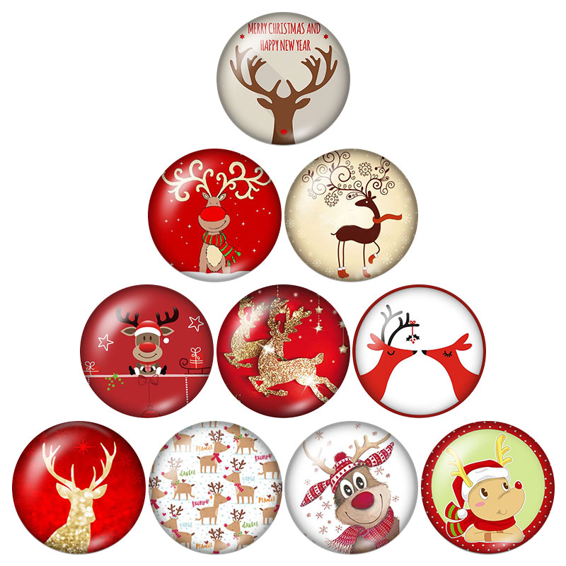 Fashion Beauty Christmas Cartoon Elk 10pcs 12mm/18mm/20mm/25mm Round photo glass cabochon demo flat back Making findings ZB0586