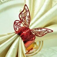 100 pz/lotto Red Butterfly Laser Cut Anelli di Tovagliolo per la Casa Cene Pranzo Tavoli di Nozze Compleanno Anniversray Decorazioni Del Partito