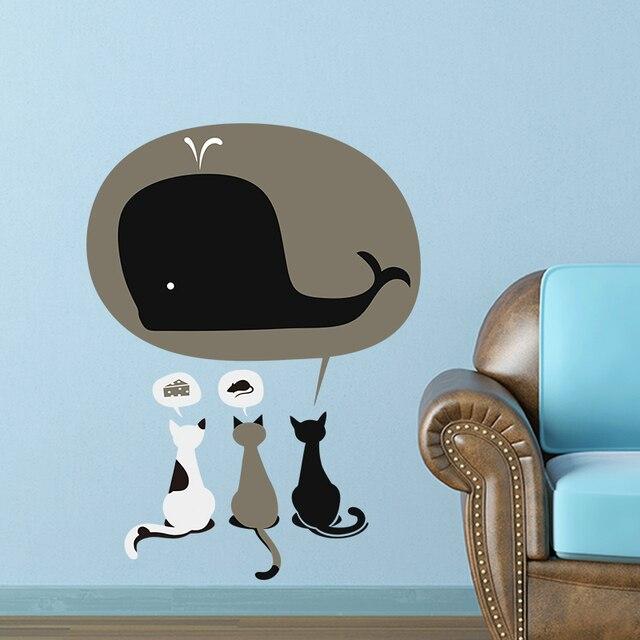 3 Cat Pet Lucu Mural Mimpi Dari Keju Tikus Paus Positif 1489 Wall Art Decor