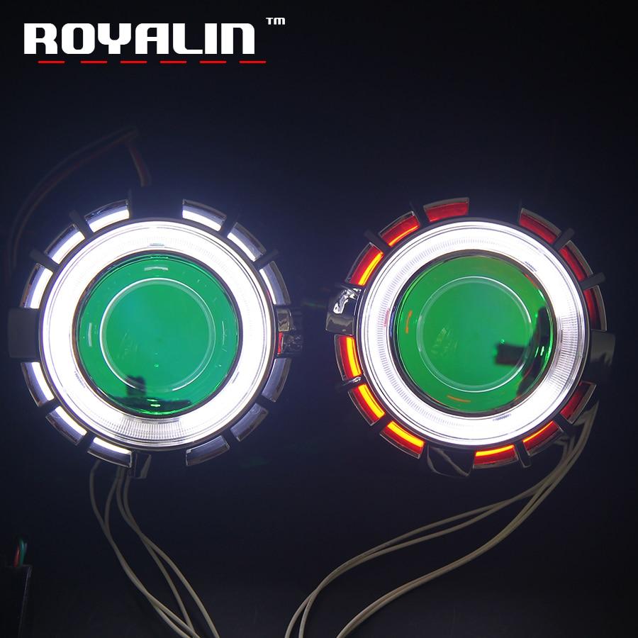 ROYALIN автомобиля Двойной CCFL диода Ангельские глазки проектор фара Объектив H1 Bi Xenon мини-демон глаза DRL H4 H7 мотоцикл лампы модернизации