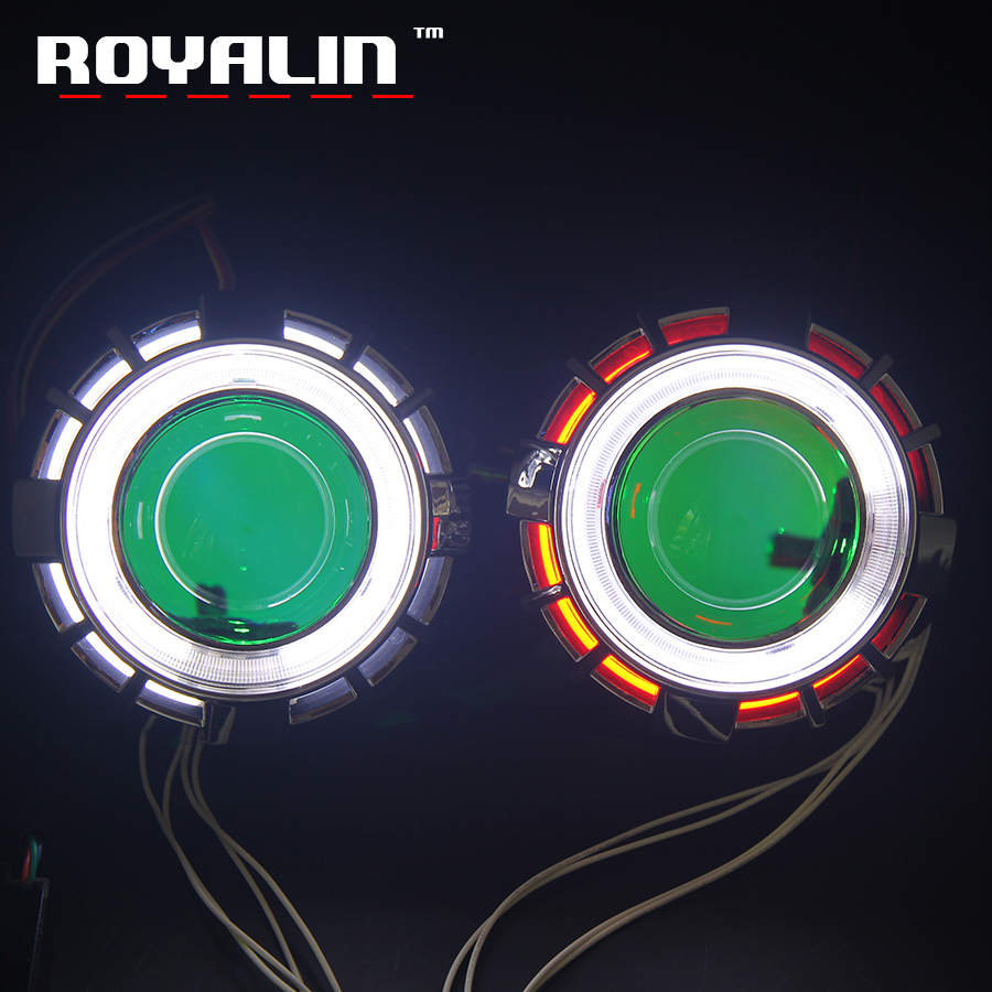 royalin led drl double angel eyes halo rings mini projector lens bi xenon h1 headlight shrouds white red h4 h7 auto lamps diy ROYALIN Car Double CCFL Diode Angel Eyes Projector Headlight Lens H1 Bi Xenon Mini Demon Eyes DRL H4 H7 Motorcycle Lamp Retrofit
