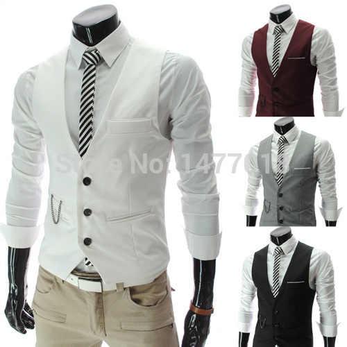 2020 neue Ankunft Kleid Westen Für Männer Slim Fit Herren Anzug Weste Männlichen Weste Gilet Homme Casual Ärmellose Formale Business jacke