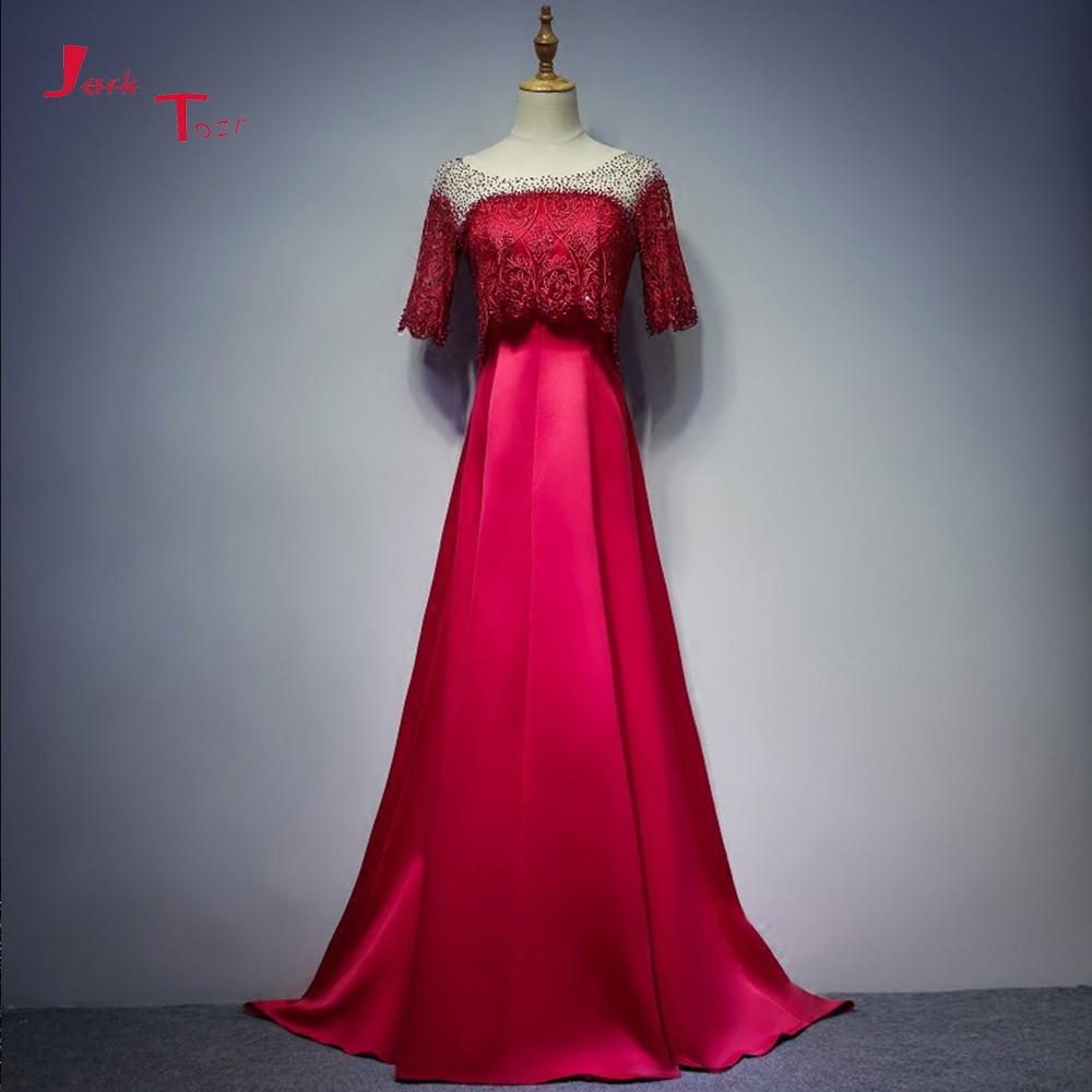 Jark Tozr Custom Made Half Sleeve Sexy Backless Crystal Lace Satin Formal Evening Dresses Online Shop China Abiye Gece Elbisesi