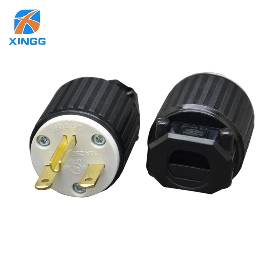 цена на XINGG UL Approved US American Industry AC Power Wire Plug Connector Adapter USA 15A 125V Female Male Plug for Industrial