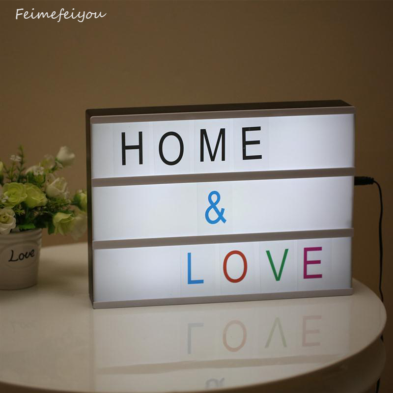 Modern Cinematic Lightbox Table Lamp DIY With Letters Number A4 Size LED Lamp Battery USB Powered Cinema Desk Night Light Box diy cinematic lightbox led night light box modern table desk lamp a4 size letters number battery usb powered home decor iy303206 page 5