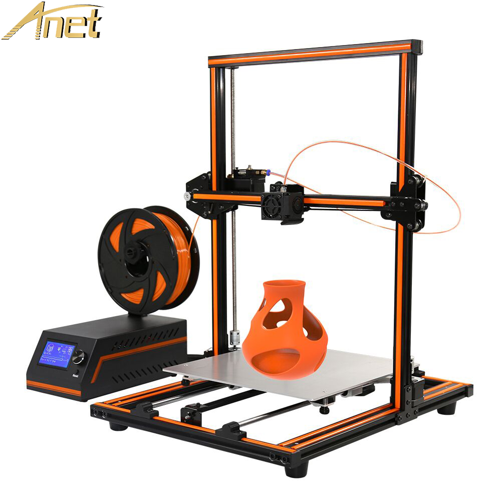 Anet E12 E10 Update Threaded rod Imprimant 3d printer High precision Reprap 3D Printer Kit DIY Set Large Print Size PLA Filament 2017 anet a8 3d printer high precision reprap impressora 3d printer kit diy large printing size with 1rolls filament 8gb sd card
