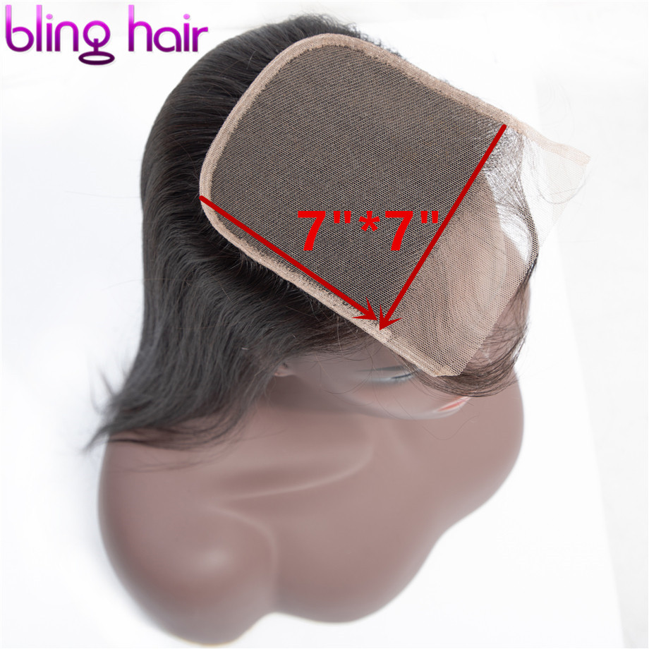 Bling Hair 7x7 Lace Closure 100% Remy Brazilian Straight Human Hair Closure With Baby Hair Free/Middle/Three Part Natural Color