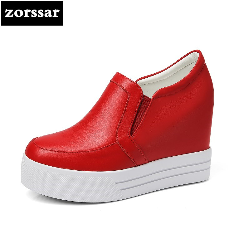 {Zorssar} Brand 2018 summer New arrival Genuine leather casual womens shoes Slip on Wedges High heels platform pumps shoes heels 2017 new women s genuine leather pumps female casual shoes sexy lady medium heels fashion high wedges platform flower slip on