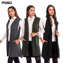PGSD New Simple Fashion Pure Colored Women Clothes Medium-long sleeveless knitted waistcoat Hooded Cardigan Sweater coat female