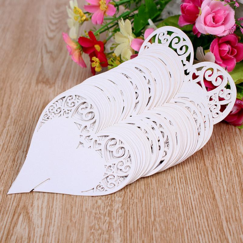Online Shop 50pcs White Double Heart Wedding Table Number Name Place Card Decoration
