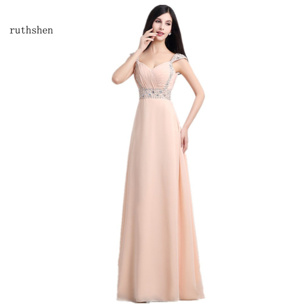 ruthshen Cheap Long   Bridesmaid     Dresses   With Cap Sleeves Sequins Beaded Pleats Chiffon Wedding Party   Dress   Under 50