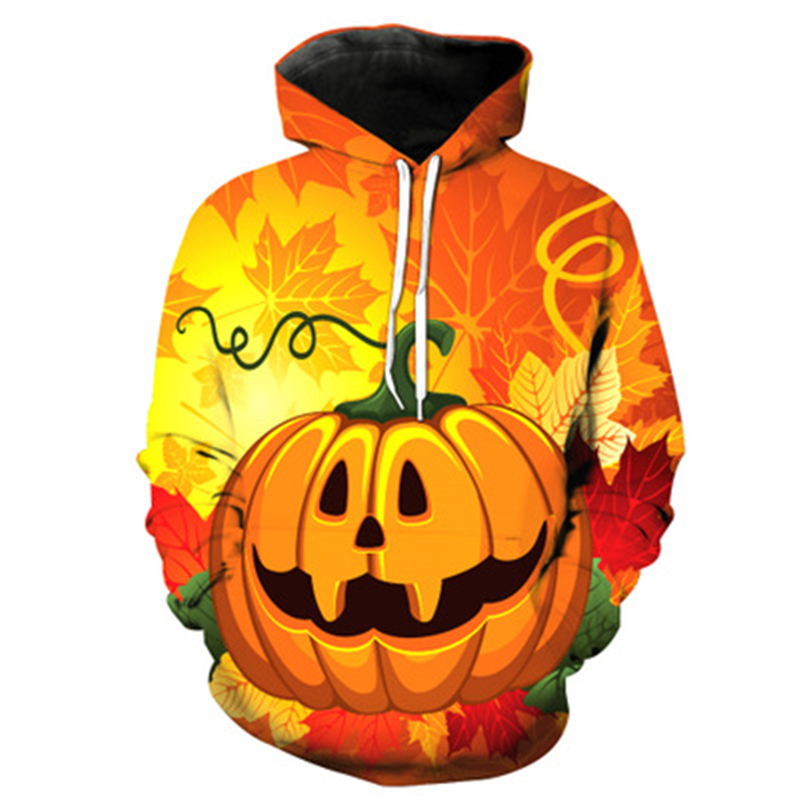 Dropshiping 3d Sweatshirts For Men/Women Hoodies With Hat Print Halloween Pumpkin Autumn Winter Loose Thin Hooded Hoody US Size