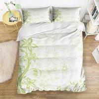 Duvet Cover Set, Green Flower Garden Themed Print Bedding Set, 4 Pieces Bedding Sets with Zipper Closure