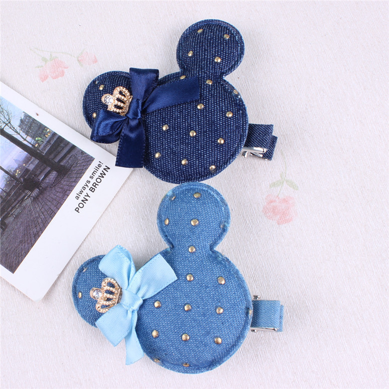 Cute Denim minnie mouse ears girls kids hair clip pin hairpin barrette accessories for children hair ornaments headwear hairclip baby cute style children accessories hairpins rabbit fur ear kids girls barrette lovely hair clip