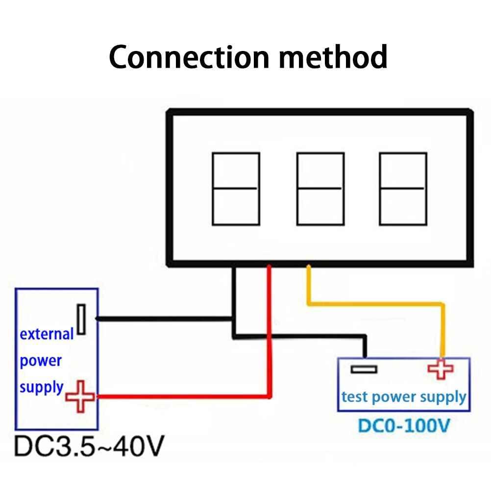 1Set Digital Voltage Meter LED Display 3 Wires DC 0-100V Detection on