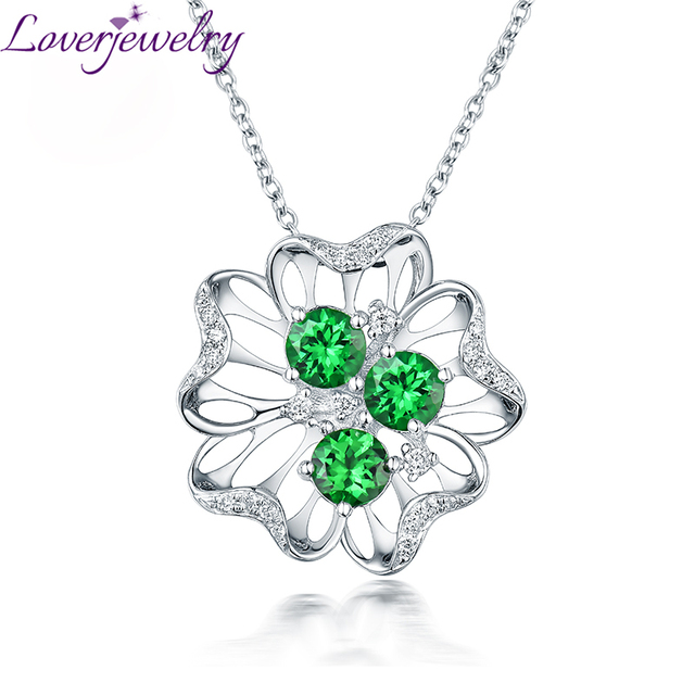 Romantic New Solid 18Kt White Gold Diamond Tsavorite Necklace Pendant Flower Shape For Girlfriend Birthday Jewelry Gift WP092E