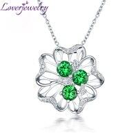 Romantic New Solid 18Kt White Gold Diamond Tsavorite Necklace Pendant Flower Shape For Girlfriend Birthday Jewelry