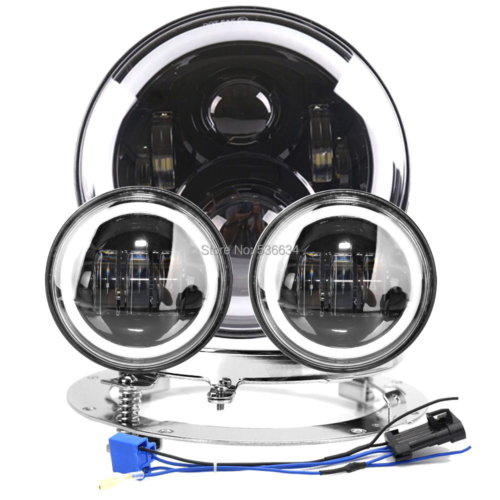 7inch LED Round Headlight Hi/Low DRL&White-Amber+7Mounting Bracket Ring&4.5Passing Auxiliary Fog Lights For  Electra Glide 7inch led projector daymaker headlight hi low beam led headlight mounting bracket ring for electra glide ultra classic efi