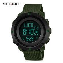 SANDA Reloj Hombre 2018 mody zegarek sportowy męskie zegarki cyfrowe odliczanie zatrzymanie zegarek Relogio Masculino wodoodporna para zegar