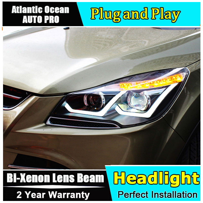 2013 2016 Car Styling for Ford Escape Headlights LED New Kuga LED Headlight DRL Lens Double