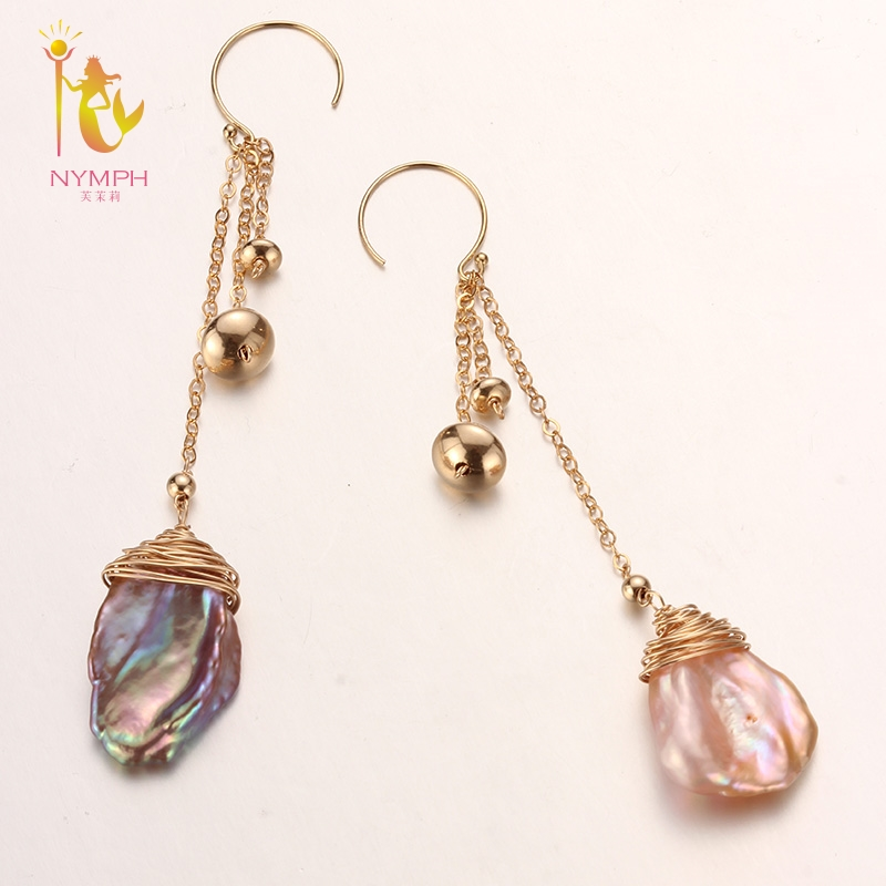 [NYMPH] Freshwater Pearl Earrings For Women Fine Jewelry Big Natural Pearl Drop Earrings Baroque Fashion Gift For Party E328 fashion silver needle natural freshwater pearl stars in baroque long earrings eardrop fashion temperament