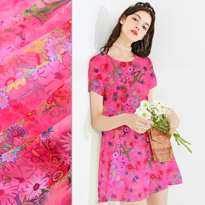 Fabric Home & Garden Dark Pink Printed Silk Fabrics In The New Silk Fabrics Bright Printing Mulberry Silk Fabrics Silk Scarf Yarn 2018 Wholesale