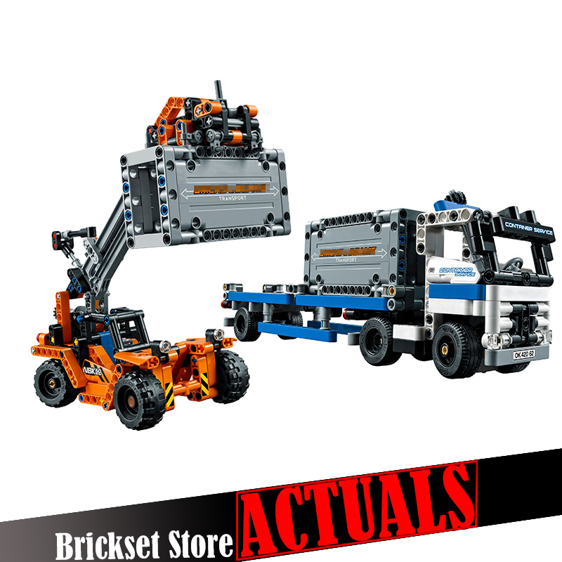 Lepin 20035 631Pcs Technic Series The Container Trucks and Loaders set Building Blocks Bricks Educational Toys for children gift construction equipment backhoe skid steer loaders wheel loaders road roller service manuals for hyundai