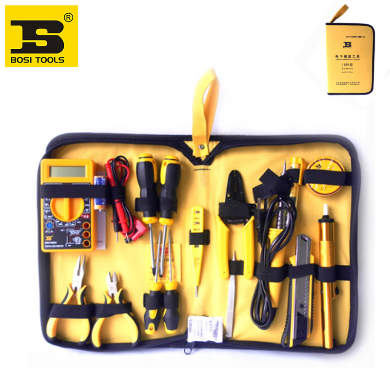 free shipping BOSI 15 in 1 electrician tools set,household tool set free shipping bosi brand new 50pc mechanics tool set china top ten brand