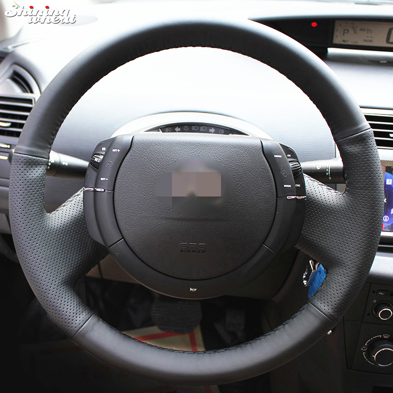 Shining wheat Hand-stitched Black Leather Steering Wheel Cover for Citroen Triumph Old C4 C-quatre shining wheat hand stitched black leather steering wheel cover for peugeot 206 2007 2009 207 citroen c2