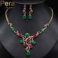 Vintage Simulated Emerald And Ruby Stone Gold Plated African And Nigerian Women Big Cubic Zirconia Jewelry Sets For Party J081