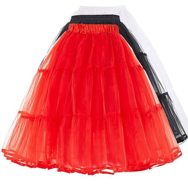 Verão Mulheres Hoops Anáguas Underskirts Vestido de Puffy Tulle Saia Retro Do Vintage Plus Size Dança Crinolina saia 2017 Branco